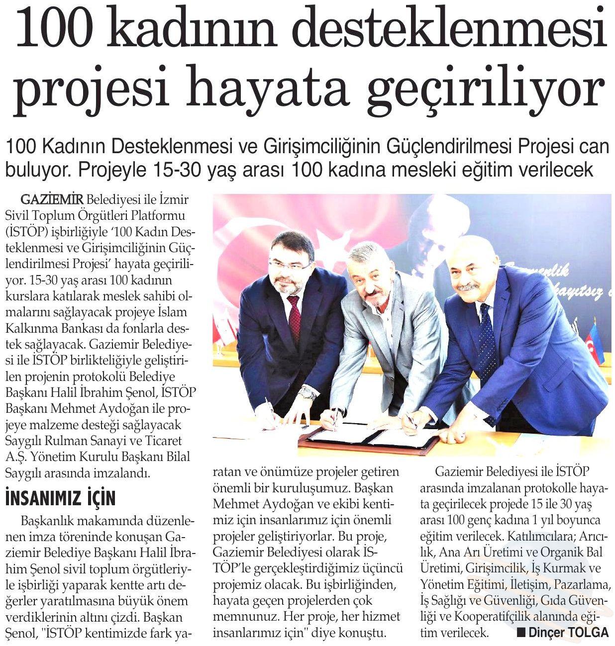 100 KADININ DESTEKLENMESİ PROJESİ HAYATA GEÇİRİLİYOR