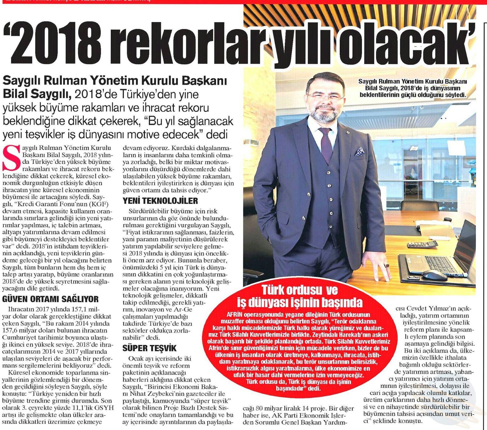 2018 REKORLAR YILI OLACAK